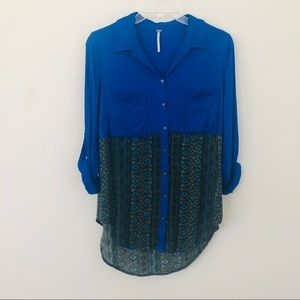 Free People • cobalt blue floral button down top